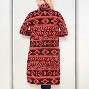 Sweaters - Red/blackAztec sweater cardigan
