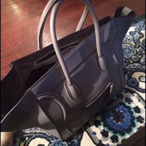 celine gray ryg1  Large pearl gray leather CELINE Phantom