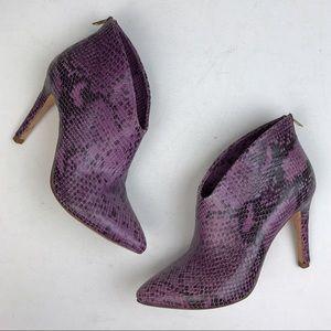 Joie purple snake print leather booties
