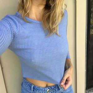 Ribbed Blue Crop Top 💙✨