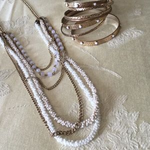 White and gold Necklace and Bangle Set