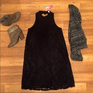 Mock neck laced dress