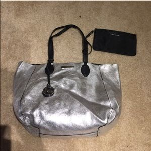 Michael Kors Handbags - Michael Kors Reversible Silver/ black Large Bag