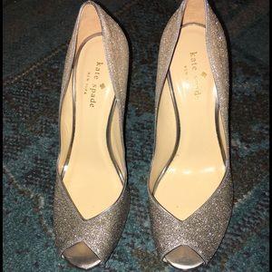 Kate Spade Glitter Peep-toe Heels Sz 7 NEW!