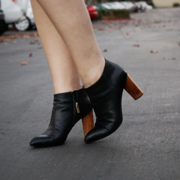 Black Ysl Ankle Booties With Wood Heels
