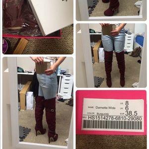 ✨NWT✨ JustFab Wide Burgundy Plum Boots Thigh High