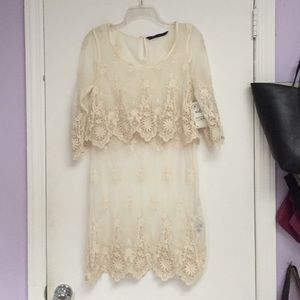 Embroidered crochet popover dress