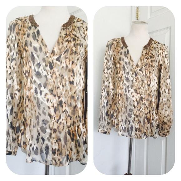 cce40906be6f15 Hale Bob Animal Print Silk Blend Tunic