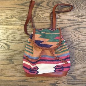 unknown Handbags - Aztec tribal canvas and leather backpack