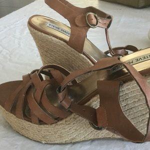 Steve Madden wedge sandals, brown, size 8.5