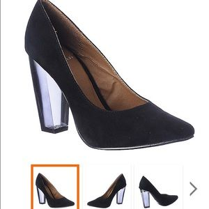 Shoes - Vegan leather clear heel pumps