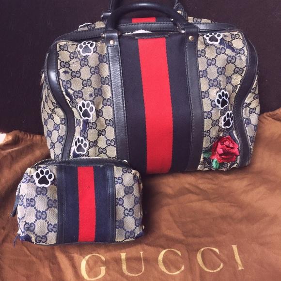 eb0431516cb2 Gucci Handbags - SALE! Gucci Web Boston Dog Carrier and Travel Case