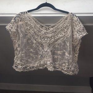 Tops - Sheer vintage lace crop