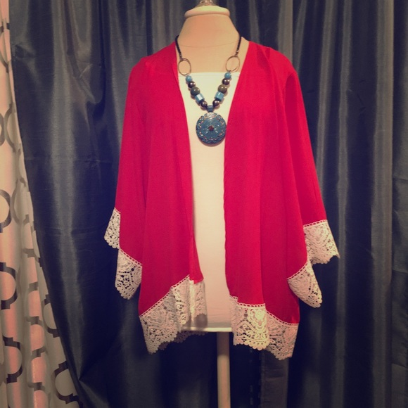 a42a6b16384 Jackets   Blazers - Red and white Laced Cardigan