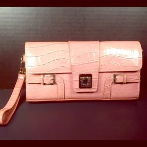 Hillard & Hanson Handbags - Hillard&Hanson Pink Croc Embossed Wristlet Purse