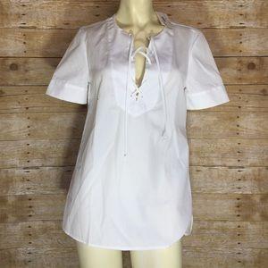 J.Crew White Cotton Short Sleeve Blouse