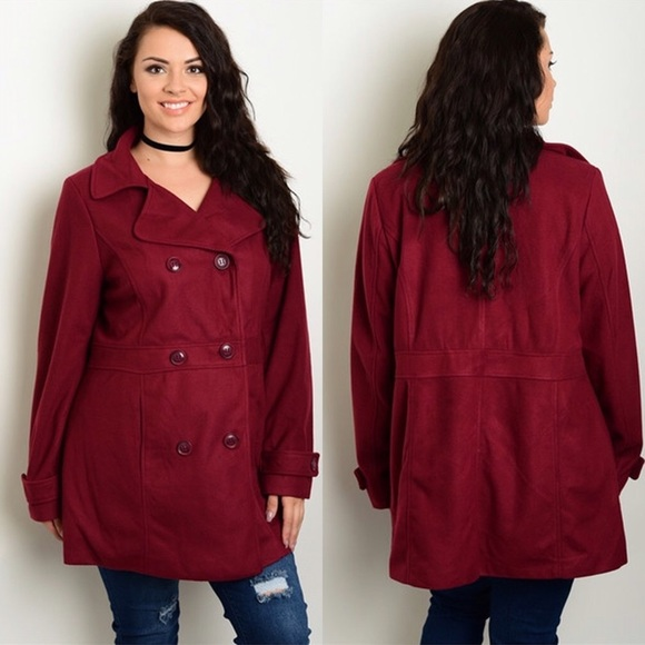 89f9c057ce6a3 Burgundy Plus Size Double Breasted Pea Coat Jacket