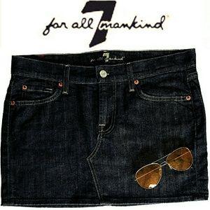 7 For All Mankind Roxy Dark Indigo Mini Jean Skirt