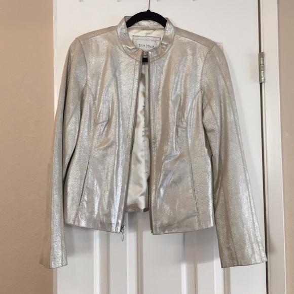 White House Black Market Metallic Leather Jacket