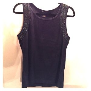 Grace Elements Tops - 100% cotton black beaded and sequenced tank