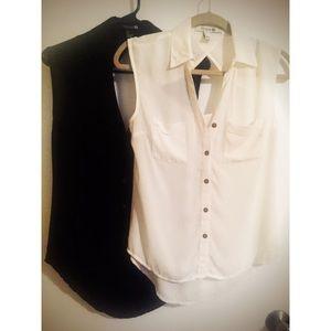 Sleeveless sheer button up blouse.