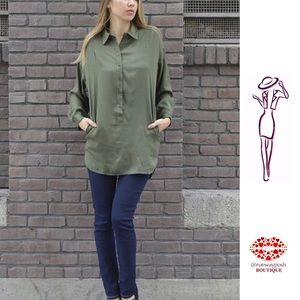 Olive Button Down Trendy Tunic