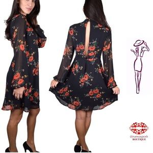 Black Chiffon Dress with Red Flowers