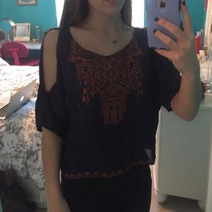 Nordstrom Navy Embellished Cut Out Top