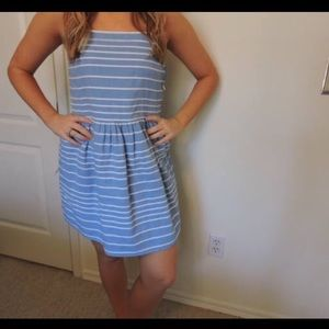 Blue and white striped summer dress.
