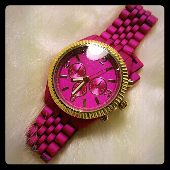 unbranded Accessories - Trendy Hot Pink Gold Coated Metal watch