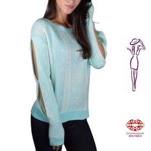 Mint Cutout Sleeve Sweater