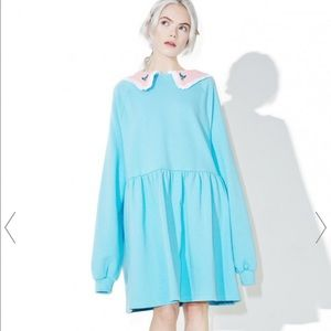 Lazy Oaf Dresses & Skirts - Lazy Oaf Cinderella Sweatshirt Dress Baby Blue M/L