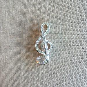 Jewelry - Treble clef diamond brooch