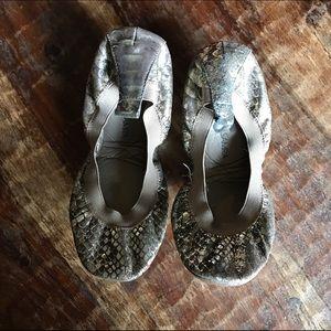 Yosi Samra Shoes - Yosi Samra Metallic Snake Skin Embossed Leather