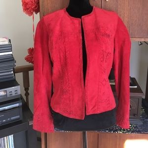 Chico's Red Leather Jacket Sz 1