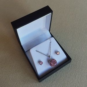 Pink stone and white gold necklace earring set