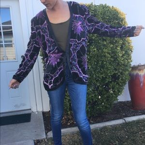 Vintage Purple/Black Sequin Blazer Sz M Silk Lined