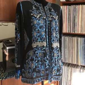 Vintage Sequined and Beaded Women's Blazer