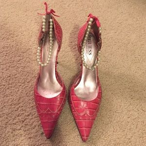 Guess pearl ankle heels