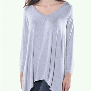 Pastels Clothing Tops - Sale! Soft Grey Pinched Tunic