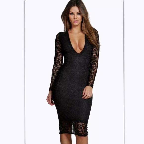 476c4725d02b Boohoo Dresses | Nwt Black Sia Lace Plunge Dress Size 12 | Poshmark