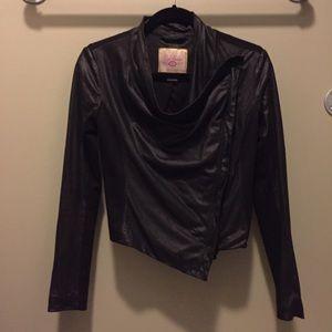 Asymmetrical Faux Leather Jacket Size S