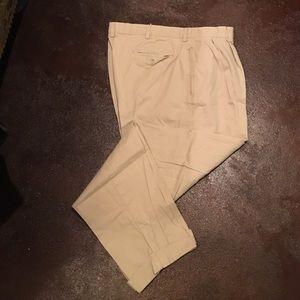 Polo Cotton Pant, khaki tan, cuffs, pleats, 36/32