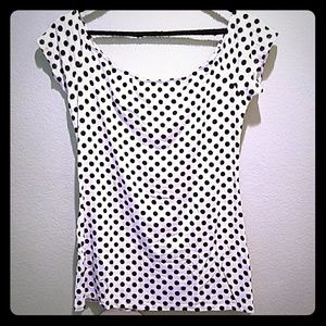 Black and white polka dot top on/off shoulder