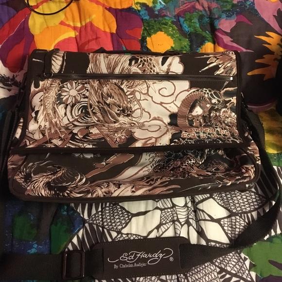 b505b45aa9 REDUCED  Ed Hardy Dragon print laptop bag