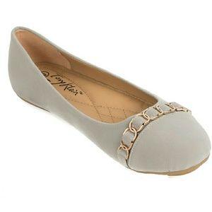 Tory Klein Shoes - Tory K Women Chain Buckle Flats, b-1617, Grey