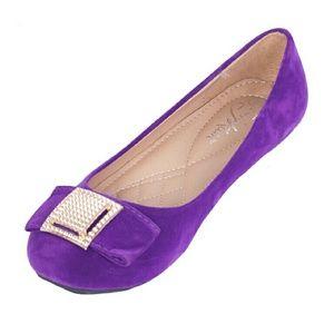 Women Faux Suede Buckle Flats, b-1619, Purple