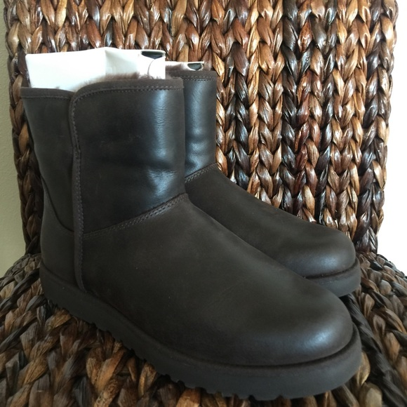 c24399e6586 UGG Cory Leather All-Weather Mini Boots in Stout NWT