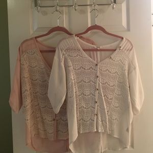 Cozy S&S Casual Lace Tops. Rose and White. Medium.