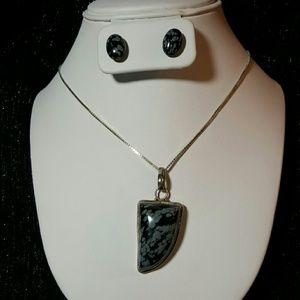 Jewelry - Snowflake Obsidian Necklace & Earrings Set